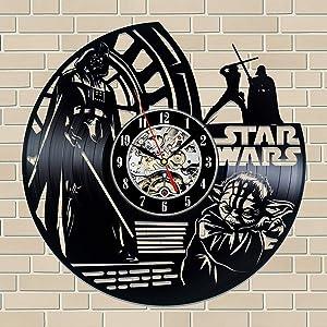 La Bella Casa Star Wars Space-Opera Art Wall Clock Vinyl Wall Clock - Get Unique Wall Home Decor - Gift Ideas for Him and Her - Original Handmade Vintage Gift