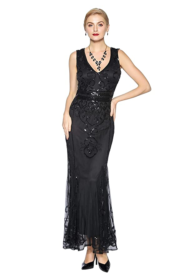 Best 1920s Prom Dresses – Great Gatsby Style Gowns Metme Sequin Beaded Long Dresses Gatsby Theme Party Night Sexy Women Flapper Dress Prom $58.99 AT vintagedancer.com