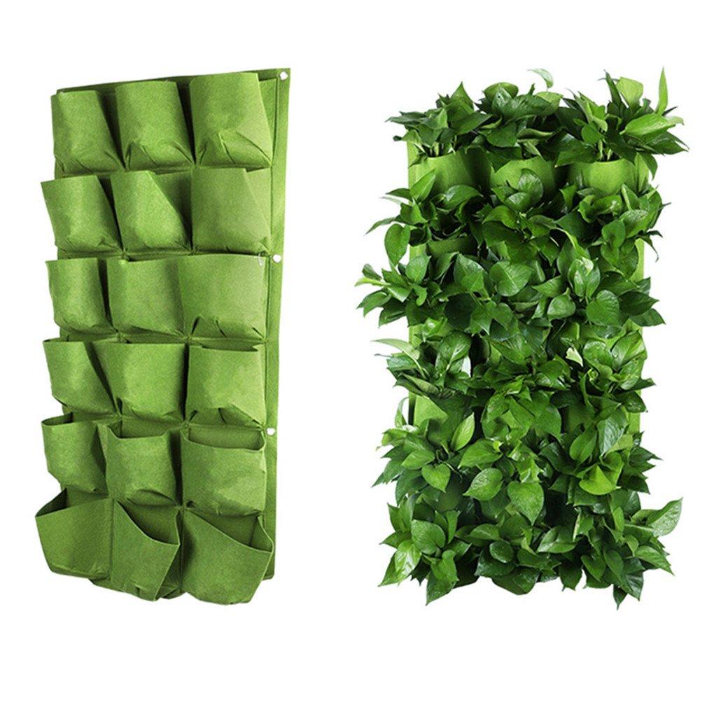 OriginA Grow Bag, Patio Flower Planter, Garden Planter, 20''-W x 40''-L Vegetable Container(Vertical 18 Pockets, Green 1Pack)