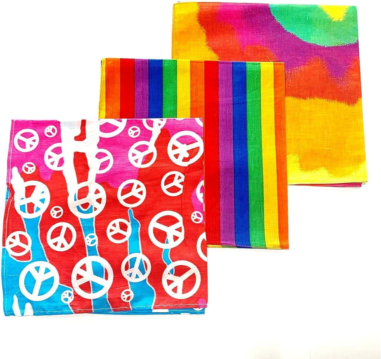 3 Pack of Bright Rainbow Bandanas Headband Gay Pride Love Funky Hipster Wrist Band