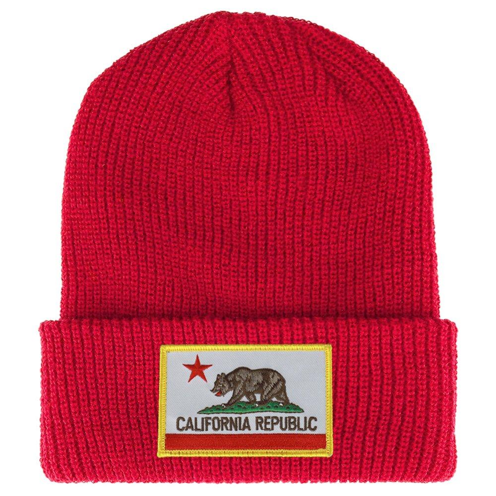 f9cbb18dc5a Amazon.com  California Bear Flag Embroidered Patch Winter Ribbed Cuffed Knit  Beanie - DARK GREY  Clothing
