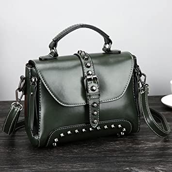 e079f4e24def Amazon.com  LtrottedJ Retro Women s Rivets Leather Shoulder Bags ...
