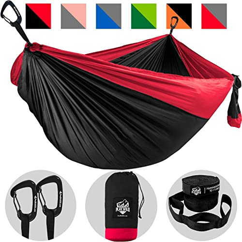 Double Hammock for Camping, Travel and Hiking – 2 Person Outdoor Hammock – Lightweight Portable Yet Heavy Duty with Straps Included for Easy Hanging from Trees – Great Camping Gifts for Men Women