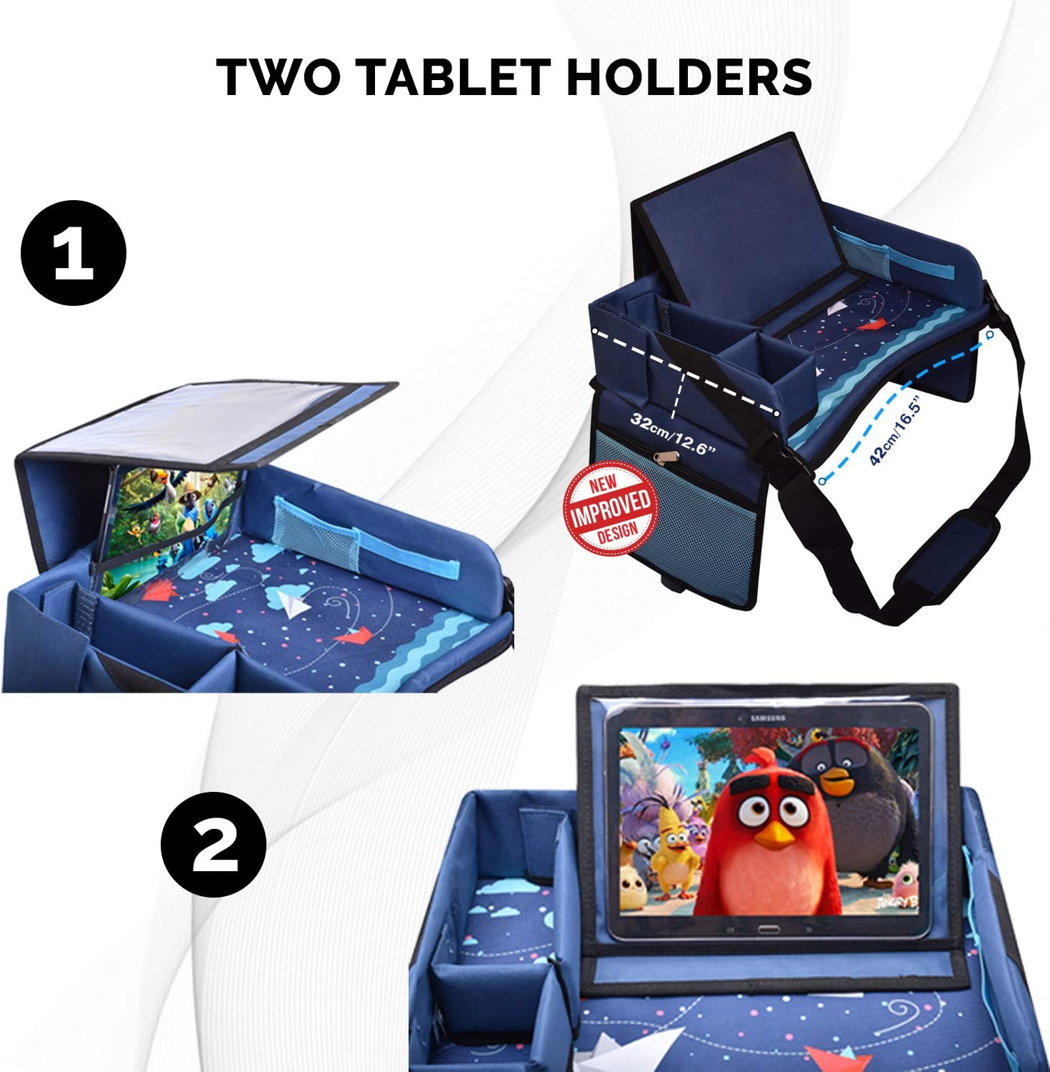 Padded Comfort Base Blue Mesh Snack Pockets Tablet Holder DMoose Travel Lap Activity Tray for Kids and Toddlers Stroller New Side Walls Airplane Play and Learn Area Waterproof Car Seat