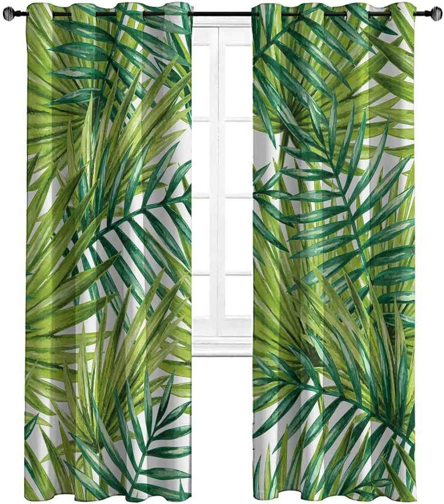 Opehodecor Plant Blackout Drapes Watercolor Tropical Palm Leaves Colorful Illustration Natural Feelings Window Curtain for Living Room 63 x 72 inch