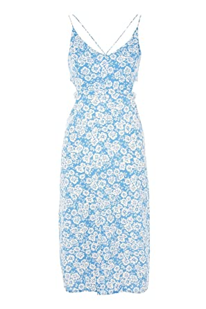ae1746e8ef Topshop Ex Cornflower Floral Print Blue Cut Out Summer Slip Dress Size 4-14  (4): Amazon.co.uk: Clothing