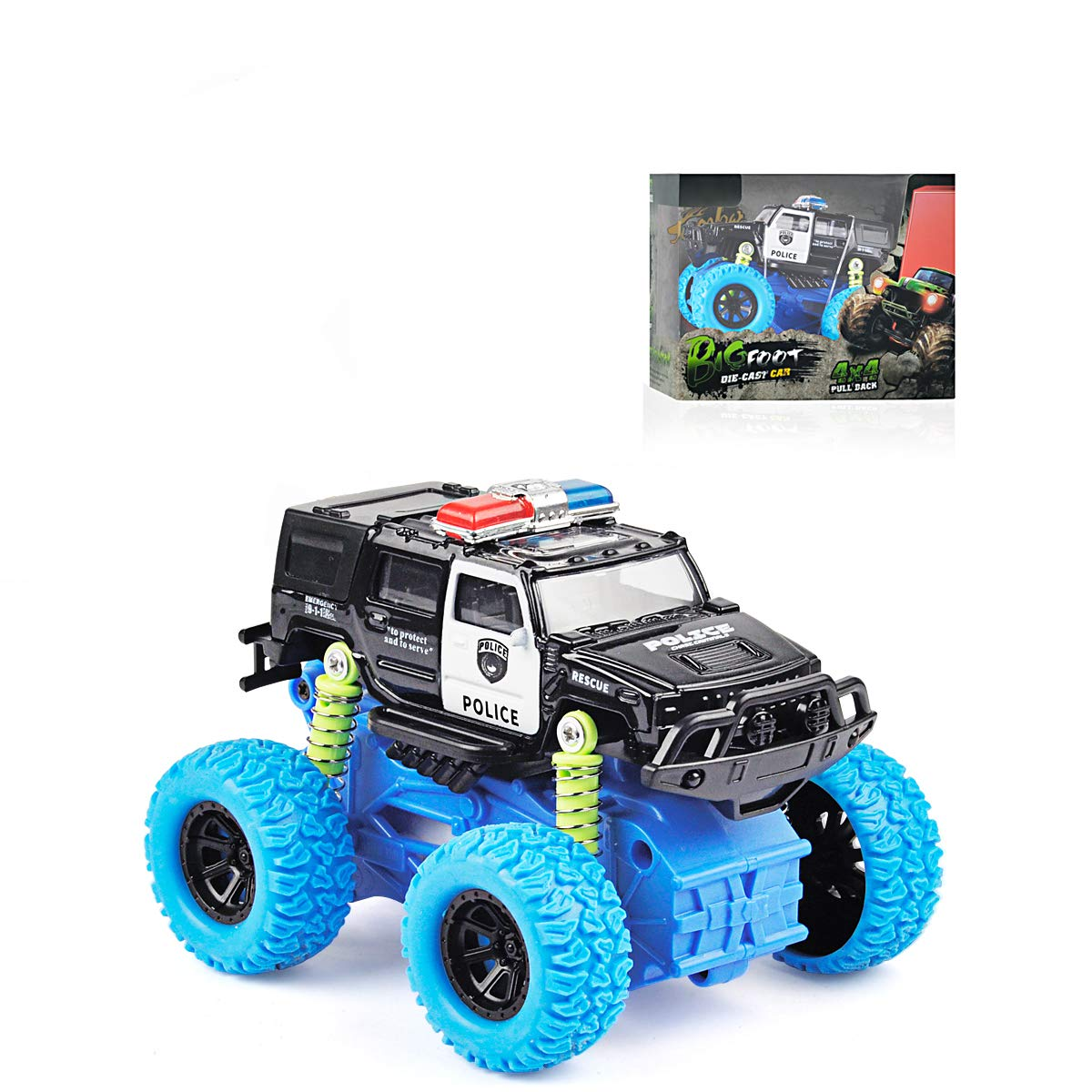 Baby Toys Toddler Police Car Toy Inertial Off-Road Vehicle Four-Wheel Drive Push and Go Simulation Alloy for 3 Year Old Boys Girls Kids Children Toddler Play Games Best Gift Black