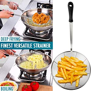 IndiaBigShop Stainless Steel Skimmer Strainer for Kitchen Frying Food, Pasta, Spaghetti, Noodle Wire Skimmer with Spiral Mesh, Professional Grade Handle