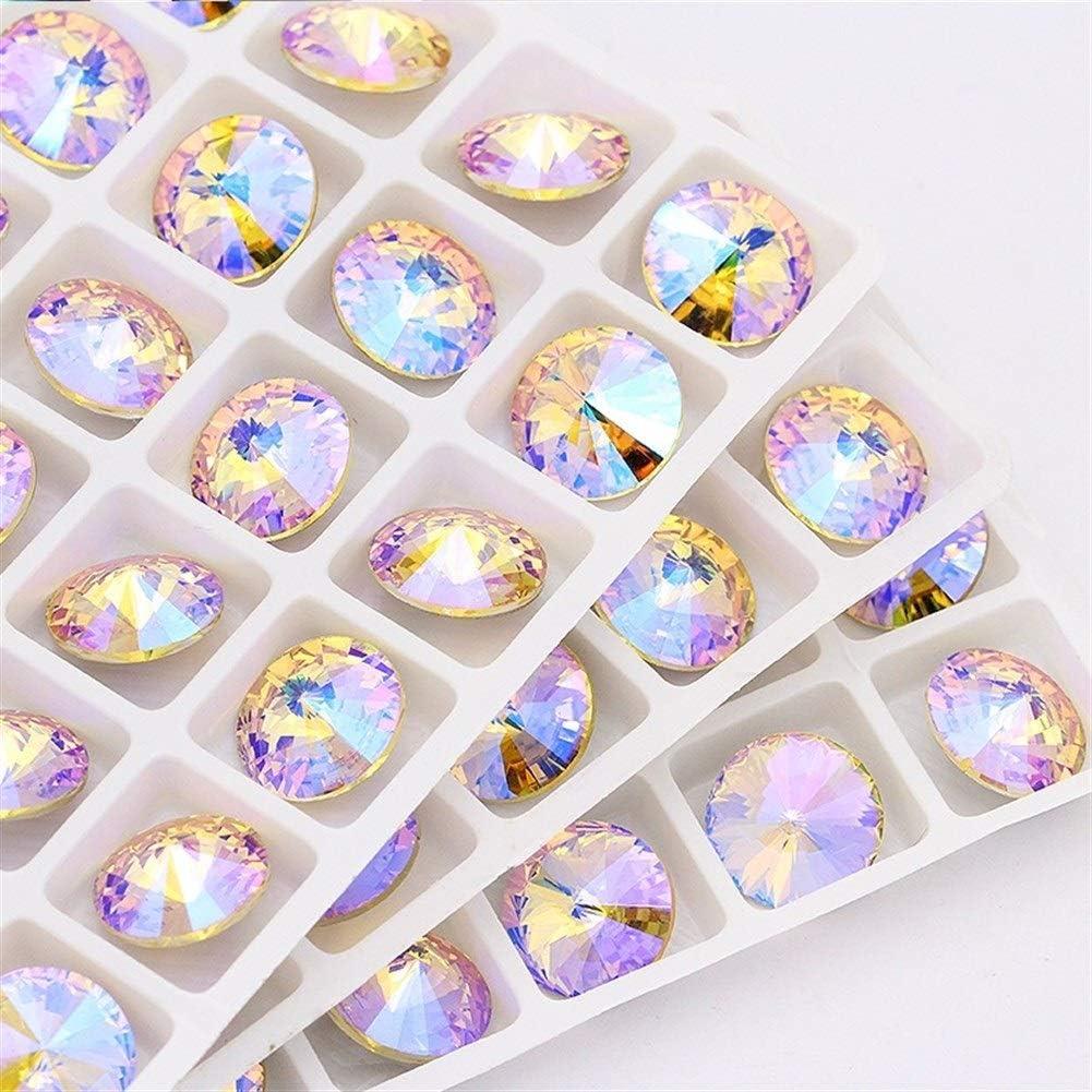 Piedras cuarzo rosa decorativas Diamantes de imitación 14mm Cristal Piedra Cristal rivoli pegamento diamantes de imitación for ropa piedras decoración ropa apliques accesorios strass manualidades