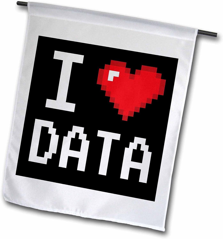 3dRose fl_118876_1 Geeky Old School Pixelated Pixels 8-Bit I Heart I Love Data Garden Flag, 12 by 18-Inch