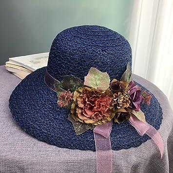 821d996c015 Amazon.com  ZUOANCHEN Sun Hat Women Floppy CAP Summer Wide Brim Beach Cap  Foldable Straw Hat To Travel On Holiday Detachable Flower (Color   Blue)   Home   ...