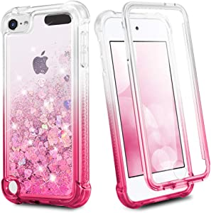 iPod Touch 7 6 5 Case, Ruky iPod Touch 7th 6th 5th Generation Full Body Glitter Case for Girls with Built in Screen Protector Shockproof Protective Girls Case (Gradient Pink)