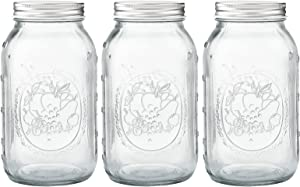 Regular Mouth Glass Mason Jar 32 oz [3 Pack] with Airtight Lids and Bands for for Jam, Food Storage, Candied Fruit