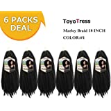 ToyoTress 6packs/lot Afro Kinky Curly Marley Braids Hair Extensions Kanekalon Synthetic Twist Crochet Braiding Hair