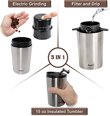 Zenct Single Cup Coffee Maker Grind And Brew Single Serve Includes Electric Burr Grinder Usb Chargeable Reusable Filter 15 Oz Insulated Tumbler