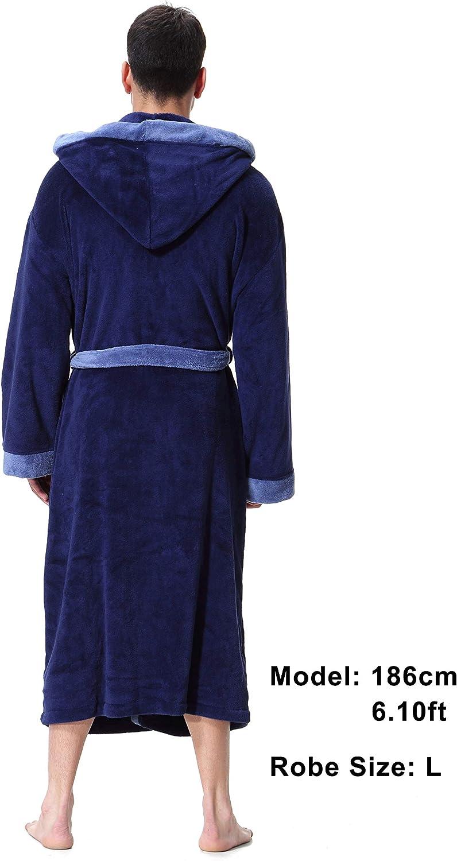 OUFANG Mens Hooded Bathrobe in 2 Colored Soft Spa Kimono Shawl Collar Hooded Long Robe Unisex