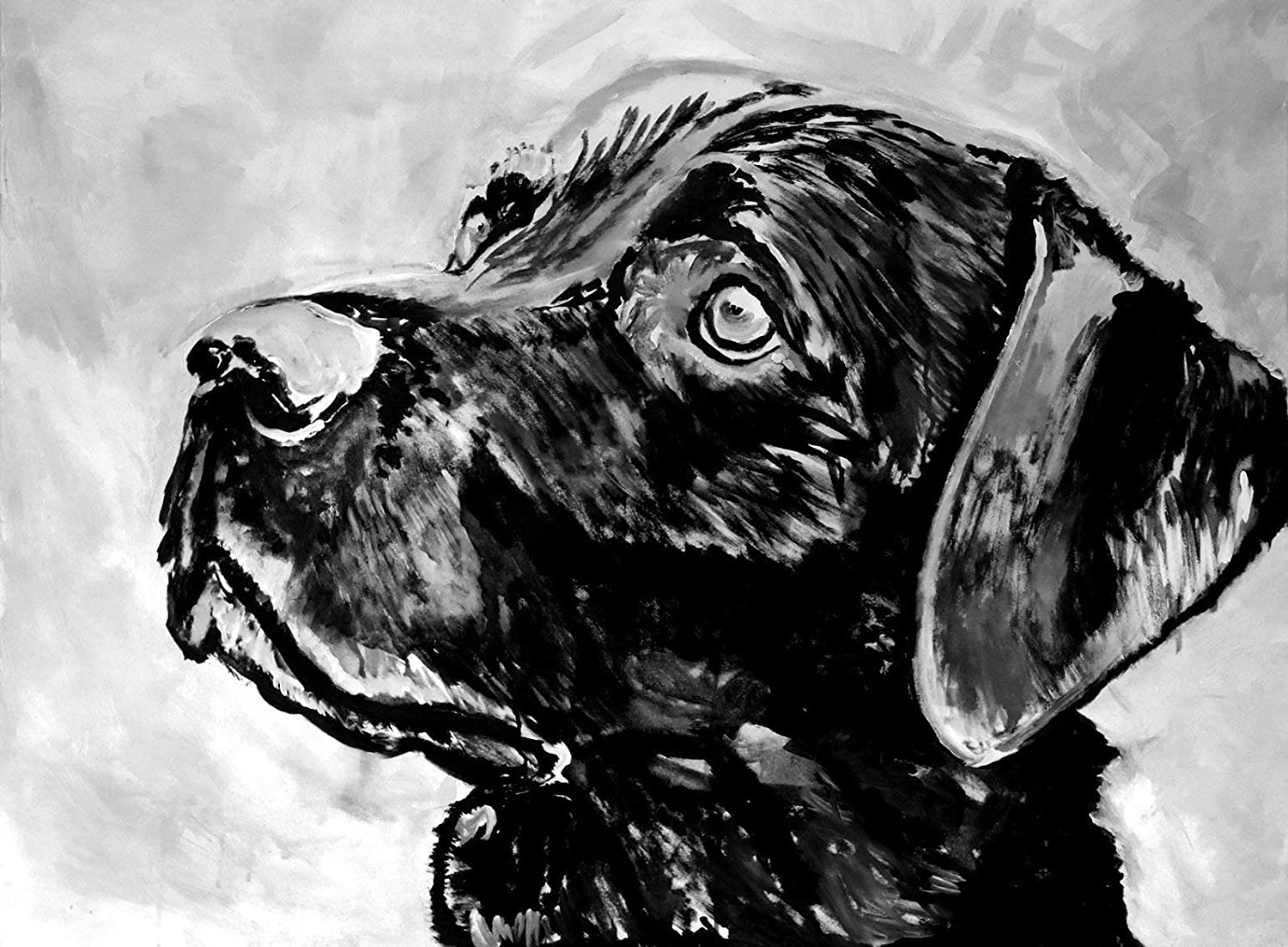 Labrador Retriever Dog Wall Art Print, Black Lab Artwork, Lab Owner Gift, Lab Dog Art, Black And White Decor, Labrador Dog Memorial Painting Picture Choice Of Sizes Hand Signed By Artist Oscar Jetson