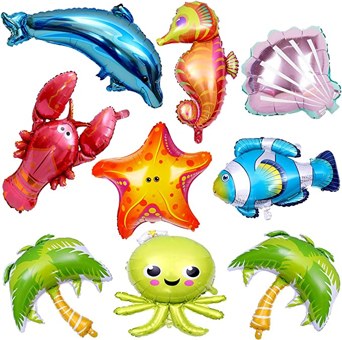 22 /'/' 4D Ocean World Cartoon Animal Foil Balloon Children Birthday Party Decor