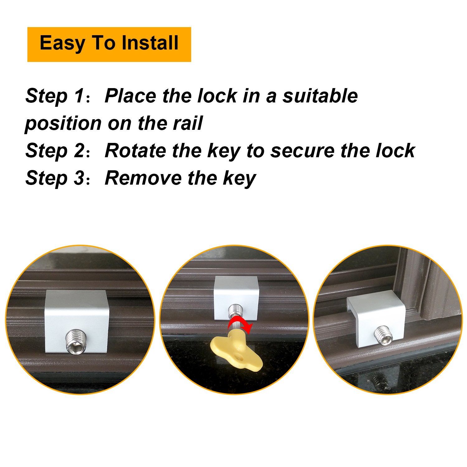 Maxdot Adjustable Sliding Window Locks Aluminum Alloy Window Door Frame Security Locks with Key for Home and Office (15) by Maxdot (Image #3)