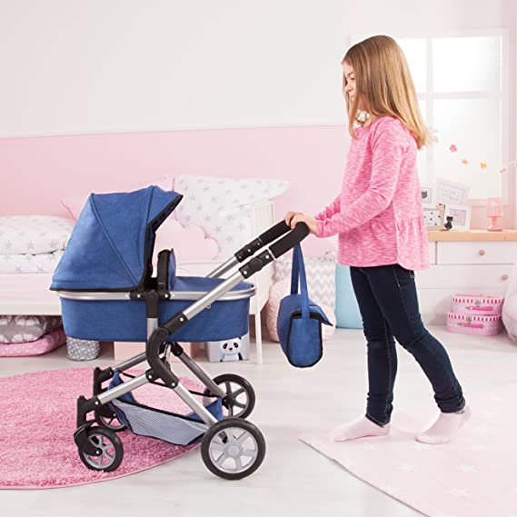 Amazon.com: Bayer Design 18135AA City Neo Dolls Pram with Bag and Underneath Shopping Basket, Blue: Toys & Games