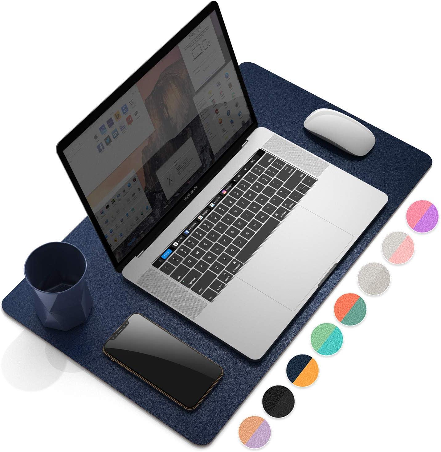 Ysagi Schreibtischunterlage Tischunterlage Pu Leder Laptop Schreibtischmatte Mauspad Ultradünnes Schreibunterlage Zweiseitig Nutzbar Ideal Für Büro Und Zuhause Blau Gelb 60 35 Cm Bürobedarf Schreibwaren