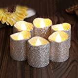 LOGUIDE 12pcs Led Tealights Flickering Silver Candles Realistic Flameless Glitter Unscented With Power Decorations For Wedding Outdoor Bar Restaurant Party Home Birthday