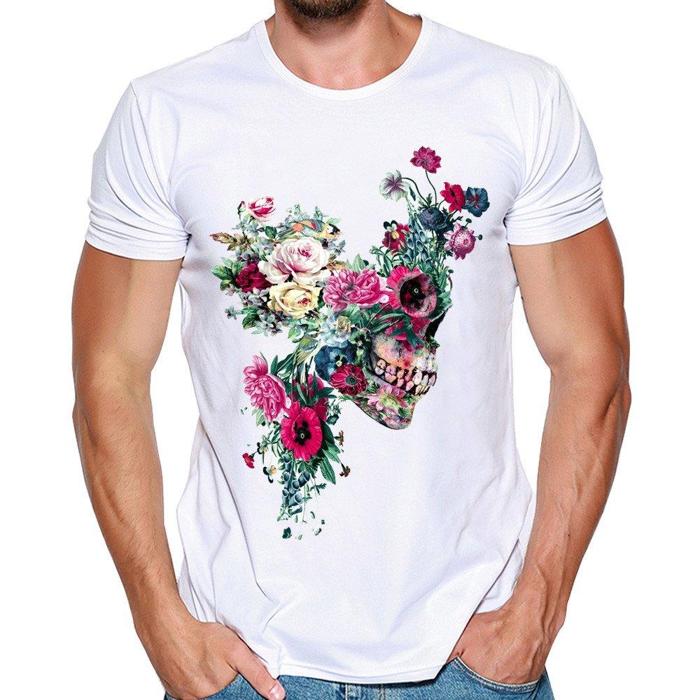 Darringls Camisetas Cortas Hombre,Manga Corta Camisetas Verano Cuadros Impresi/ón T Shirt Blusas Camisas Tops Personalidad Blanco-Cuadros de Flor