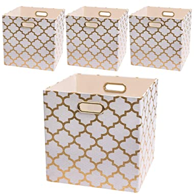 Posprica Storage Bins, 13×13 Storage Cubes, Collapsible Baskets Boxes Containers Fabric Drawers (4pcs, White Lantern Patterned)