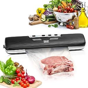 Vacuum Sealer Machine, BNT Automatic Food Saver Machine, Compact Food Sealer for Food Preservation, Dry & Moist Food Modes, Led Indicator Light, 15 Pack Vacuum Sealer Bags