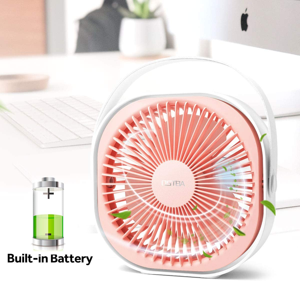 Desk Fan 6 Inch Rechargeable Battery Powered Mini USB Fan Ultra Quiet Table Fan with 3 Speeds, Portable USB Personal Fan for Office, Home, Car, Travel, 2000mAh, Includes a Handle Pink