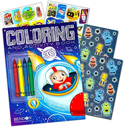 Coloring and Activity Book with Space Stickers and Jumbo Toddler Crayons Space Party Supplies Outer Space Coloring Book Super Set Kids