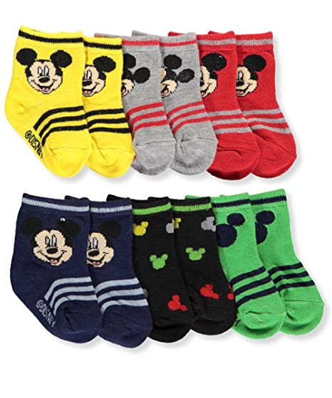 Amazon Com Mickey Mouse Infant Baby Socks 6 Pack Clothing