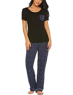 12873eb144 Ekouaer Women's Pjs Print Animal Pajama Set Dog Elegant Pants Sleepwear  Plus Size S-XXL