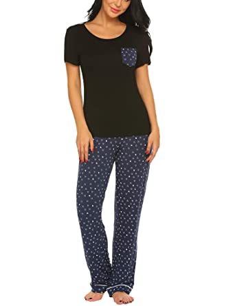 7ba94694eb9 Ekouaer Womens Pjs Set with Capris Pants Print Sleepwear Plus Size