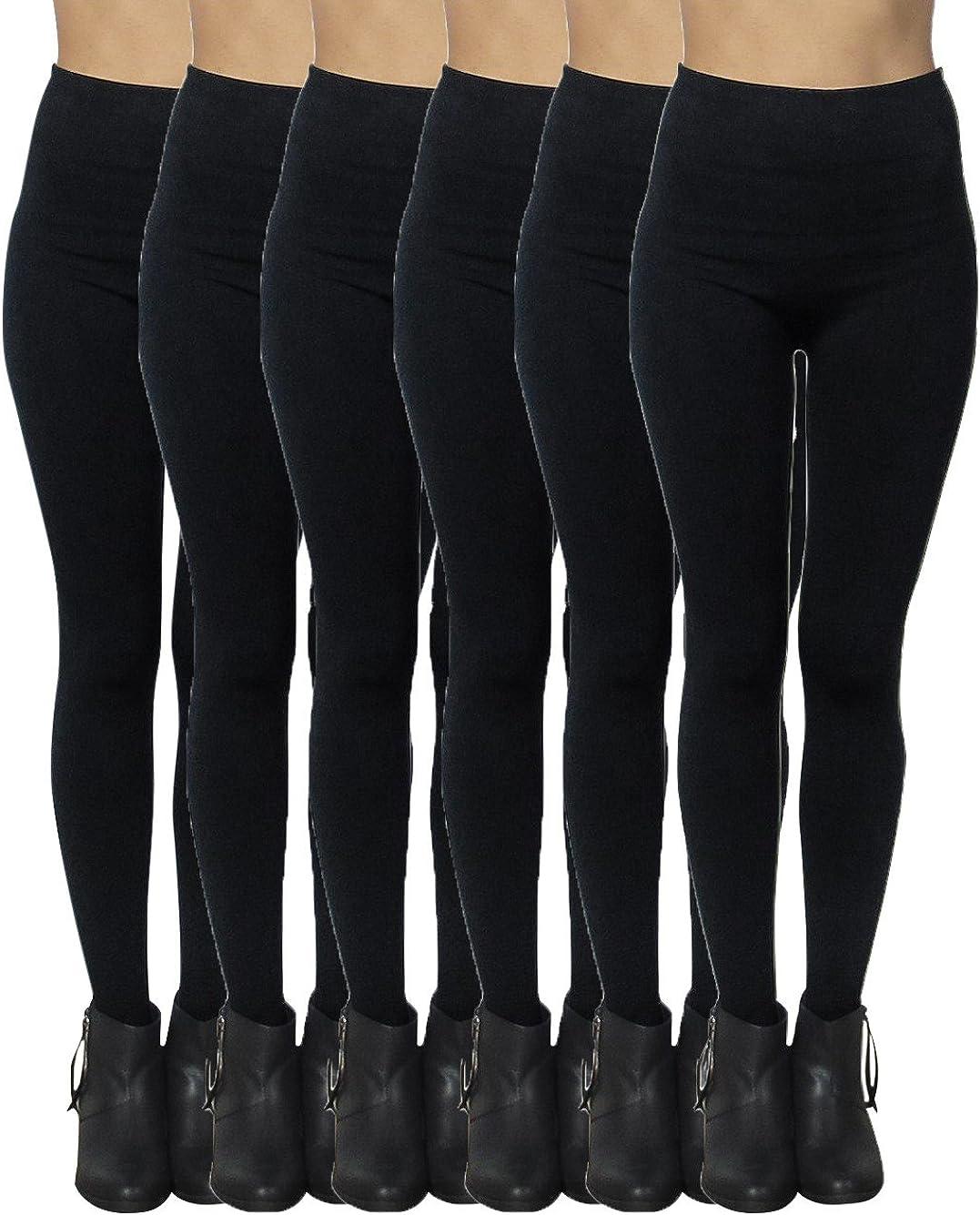 Womens Black Seamless Leggings Fleece Lined One Size