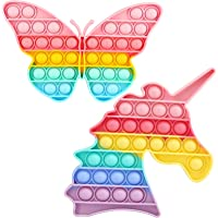 Dillitop Rainbow Unicorn Butterfly Push Pop Bubble Fidget Toys for Girls Kids, Stress Anxiety Reliever Fidget Pack Gift…