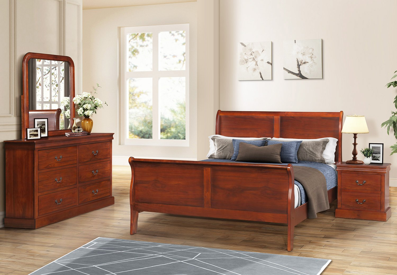 Amazon com harperbright designs bedroom set queen size bed dresser mirror nightstand cherry finish kitchen dining