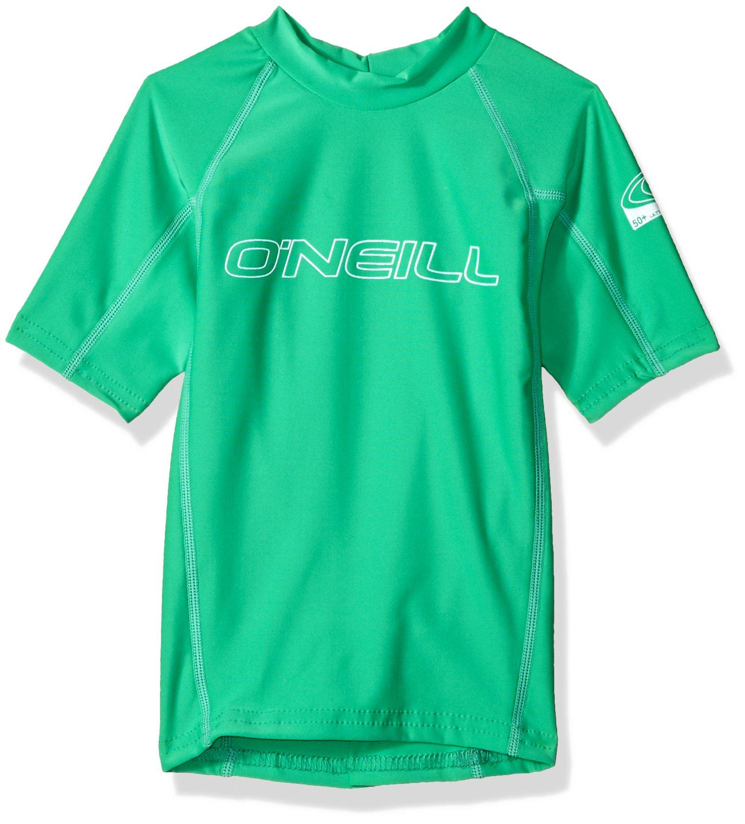 O'Neill Wetsuits UV Sun Protection Youth Basic Skins Short Sleeve Crew Sun Shirt Rash Guard, Sea Glass, 12