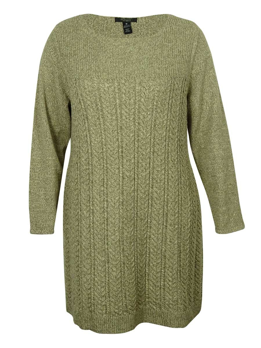 Style & Co Women's Cable Knit Sweater Dress (PL, Rye)