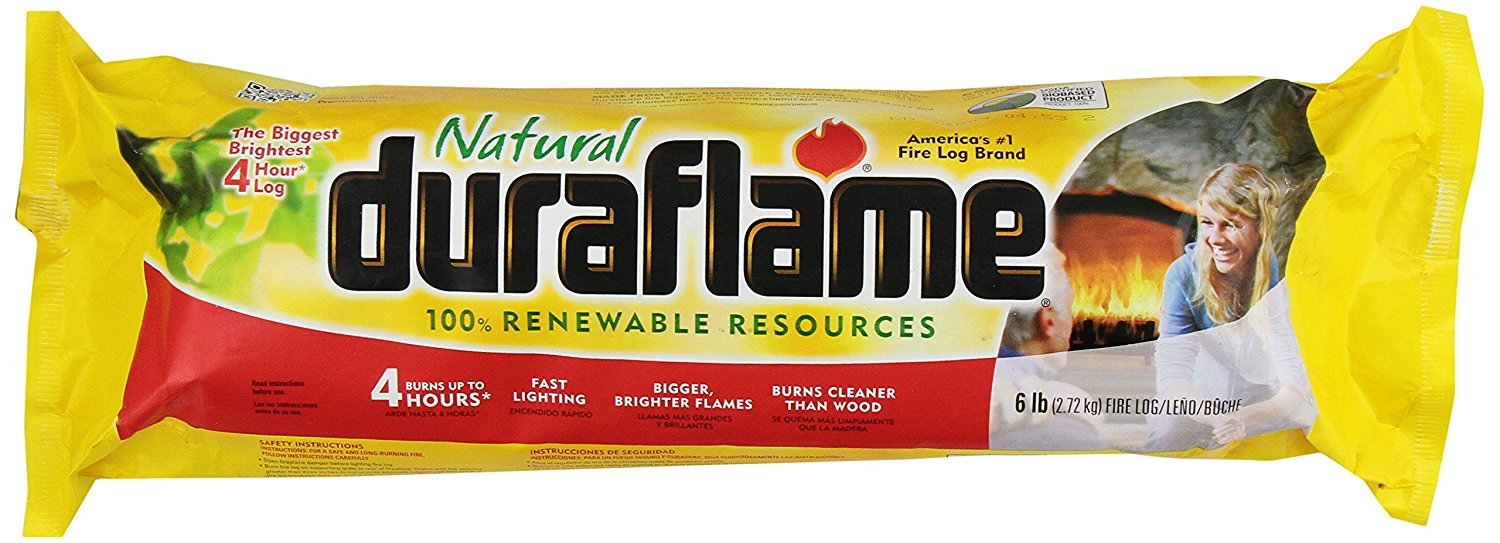 Duraflame 6lb Firelog, 80% Cleaner, 4 Hour Burn Time - (1) + Bonus Surprise Gift