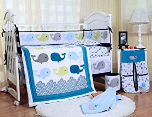 SpringBaby Baby Crib Bedding Set 8 Piece Nursery Crib Bedding Set for Boys and Girls, Including Comforter, Crib Skirt, Sheet, Bumpers and Blanket(Clourful Whales)