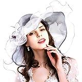 c4d43627904b2 Genuva Women s Organza UV-Anti Church Derby Hat Fascinator Tea Party  Wedding Hat Ruffles Wide