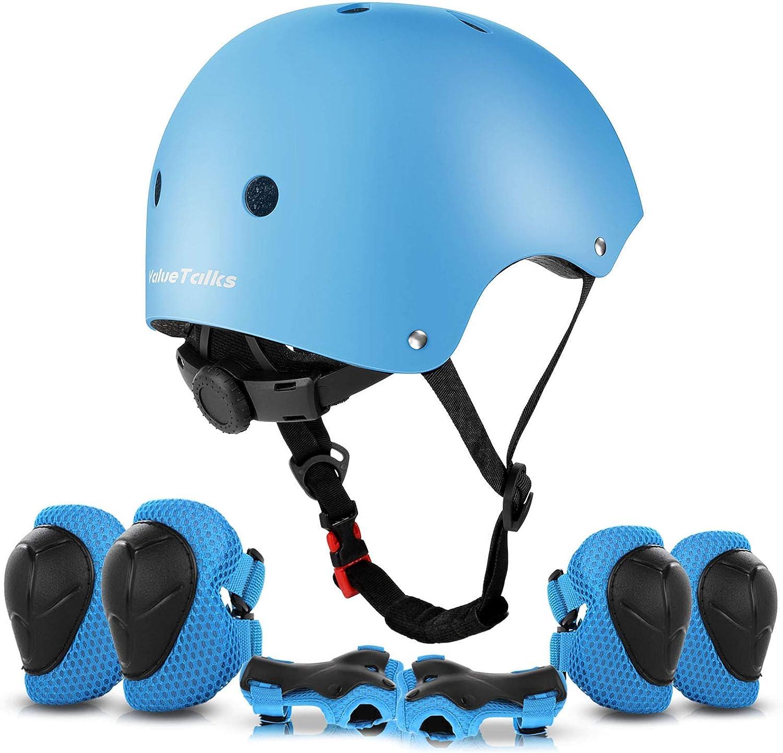 ValueTalks Protección Patinaje, Protección Infantil Consta de Casco Ajustable Rodilleras Coderas, Patinaje Ciclismo Monopatín y Deportes Extremos