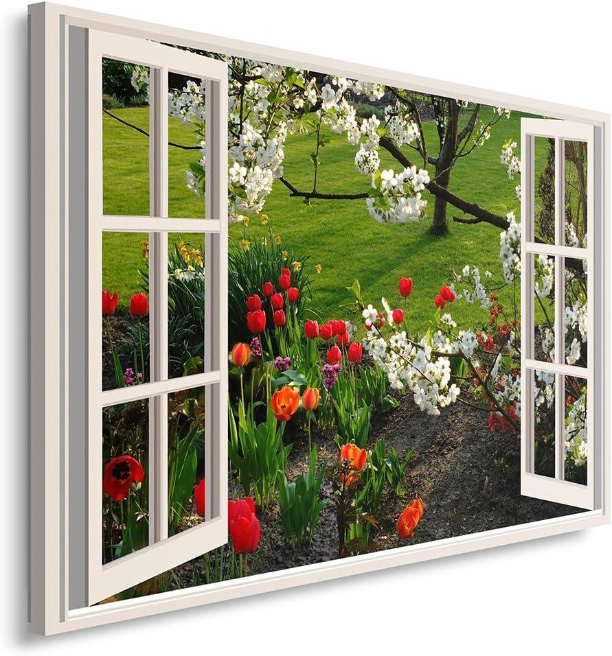 Feeby. Cuadro en Lienzo - 1 Parte - 40x60 cm, Imagen impresión Pintura decoración Cuadros de una Pieza, Flores, Tulipanes, Naturaleza, Rojo, Blanco