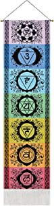 Uspring Chakra Tapestry Meditation Yoga Tapestry Mandala Tapestry Trippy Tapestry Wall Hanging with Tassel Striped for Room (Black Chakra, 12.8 x 51.2 inches)