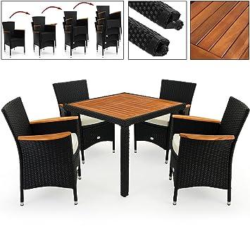 Perfekt Deuba Poly Rattan Sitzgruppe 4+1 Schwarz | 7cm Dicke Sitzauflagen | 4  Stapelbare Stühle