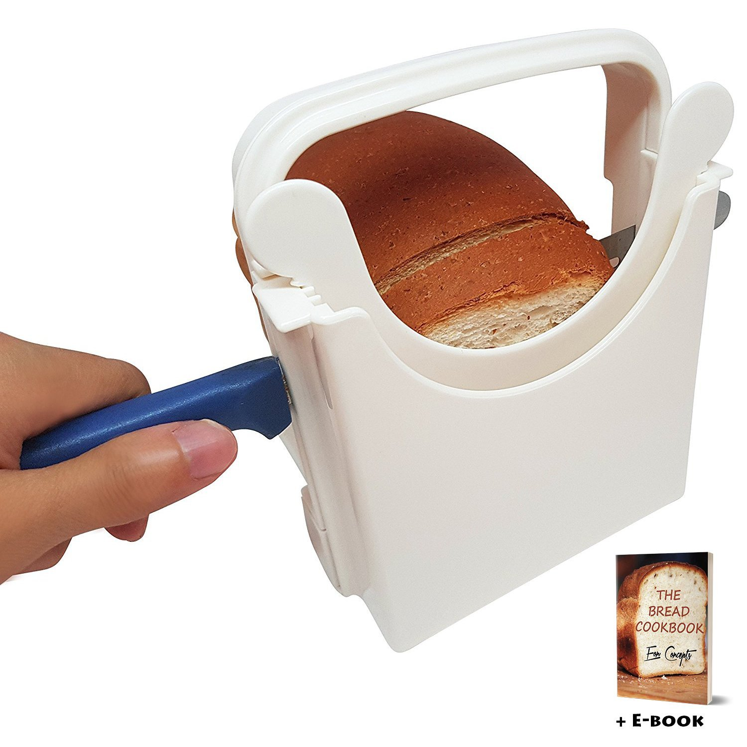 Eon Concepts Bread Slicer Guide For Homemade Bread With Mini Bread Recipe E-Book | Loaf Cutter Machine - Foldable Adjustable & Customizable to 5 Thickness | Bagel / Sandwich / Toast Slicer