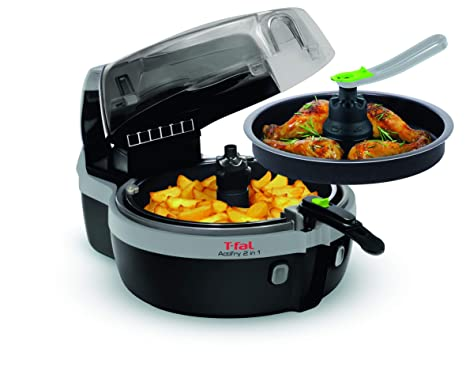 Tefal Actifry YV960120 - Freidora 2 en 1 para cocina sana, 2 zonas cocción, pantalla LCD digital, app con más recetas, capacidad 1,5 kg para 6 ...