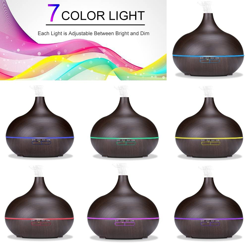 550ml Cool Mist Humidifier Ultrasonic Aroma Essential Oil Diffuser for Office Home Bedroom Living Room Study Yoga Spa – Wood Grain Black