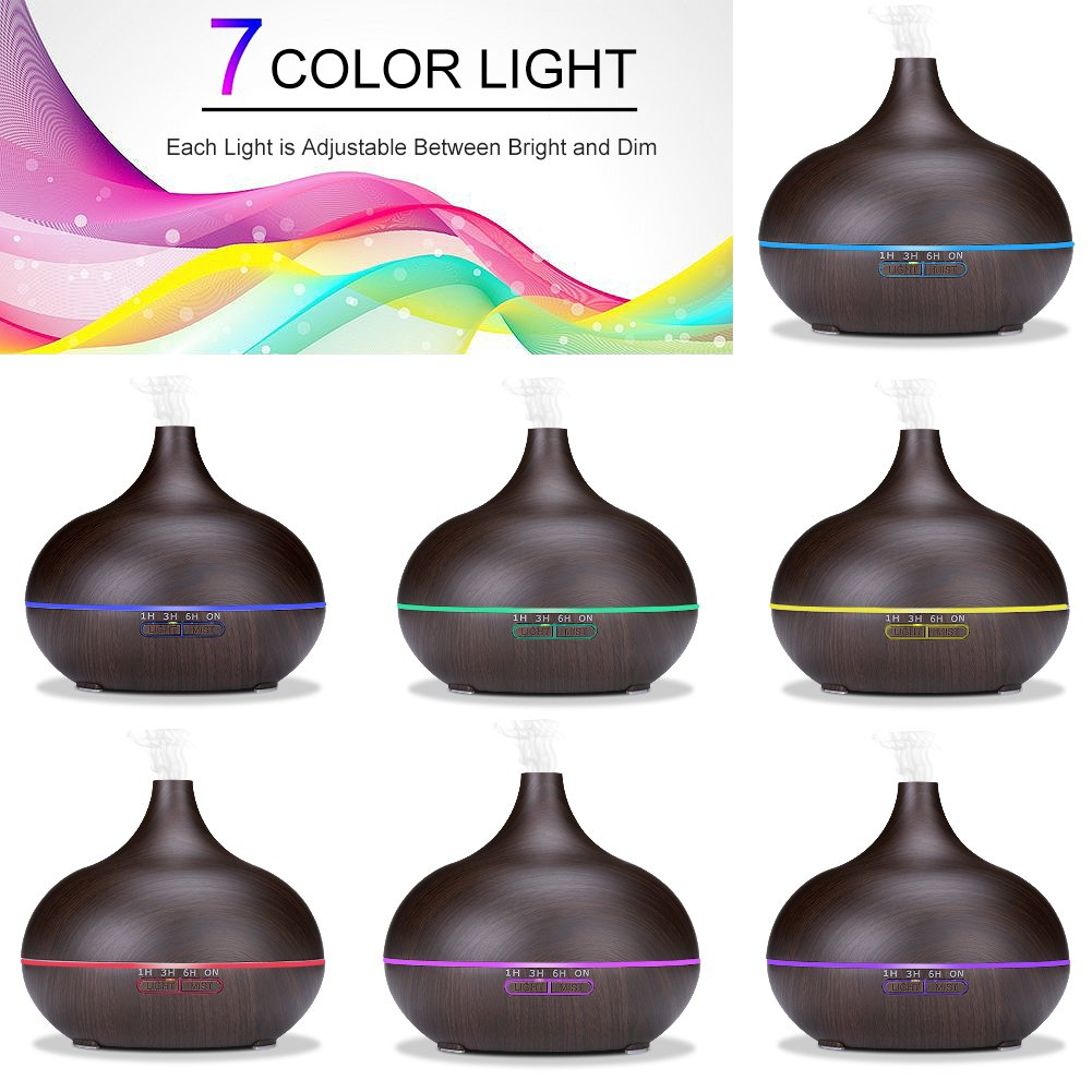 Sealive Remote Control 550ML Wood grain Essential oil Diffuser Electric Ultrasonic Humidifier Aromatherapy Cool Mist Humidifier Home Office SPA (Black) by Sealive (Image #2)